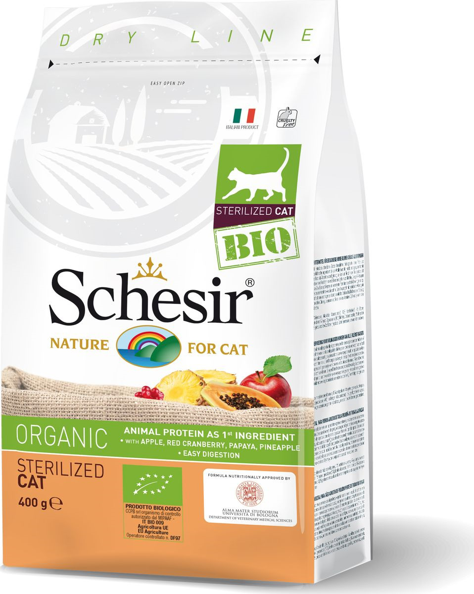 Корм сухой Schesir Bio, для стерилизованных кошек, домашняя птица, 400 г корм сухой для кошек pcg ме о gold для персидских и длинношерстных 400 г