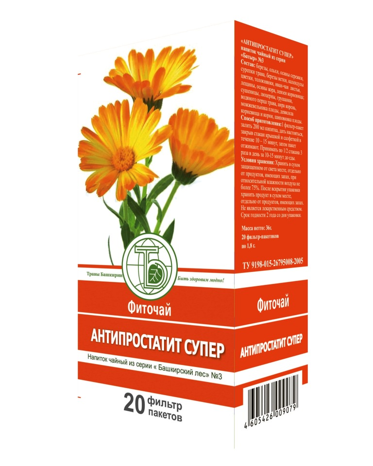 Напиток чайный Травы Башкирии N3 Антипростатит супер ф/п 1,8грх20шт zma для потенции