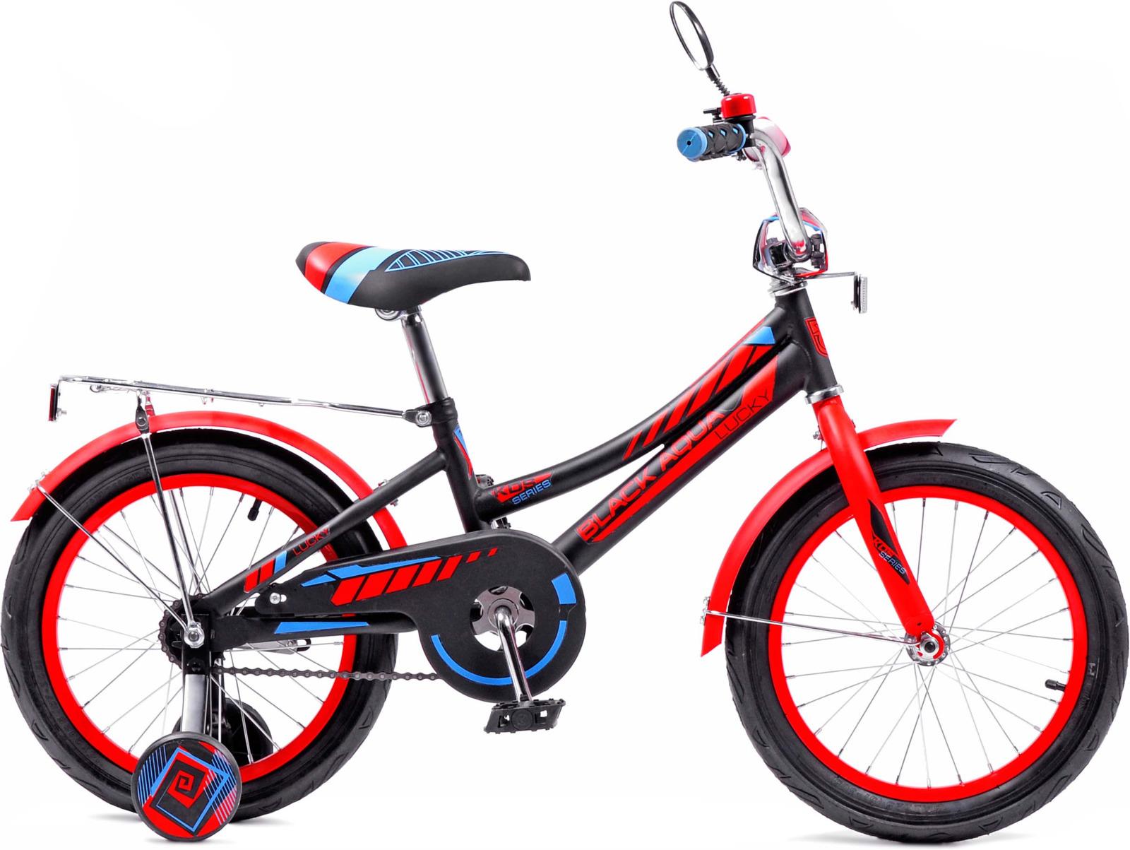 Велосипед детский Black Aqua Lucky, KG1218, с ручкой, колесо 12, черный, красный