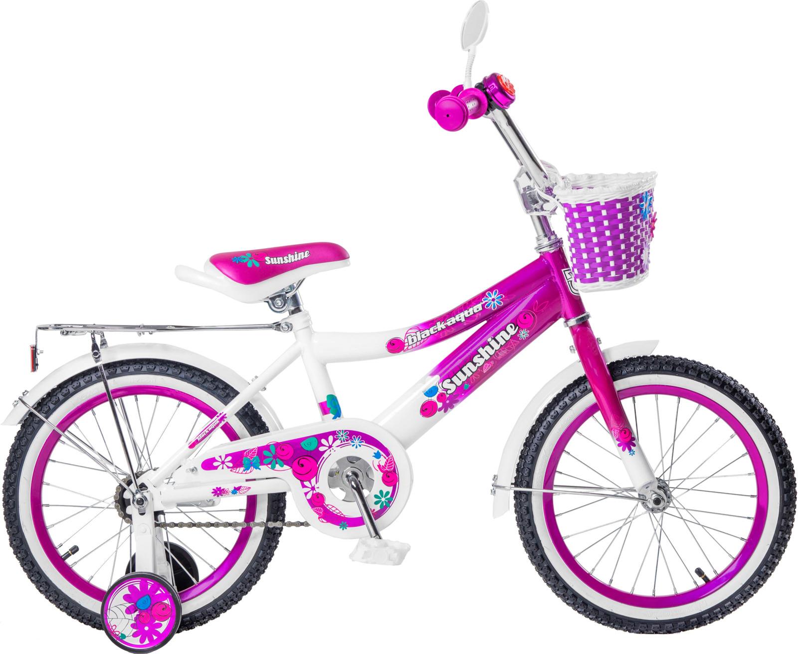 Велосипед детский Black Aqua Sunshine, KG1422, с ручкой, со светящимися колесами, колесо 14, малиновый
