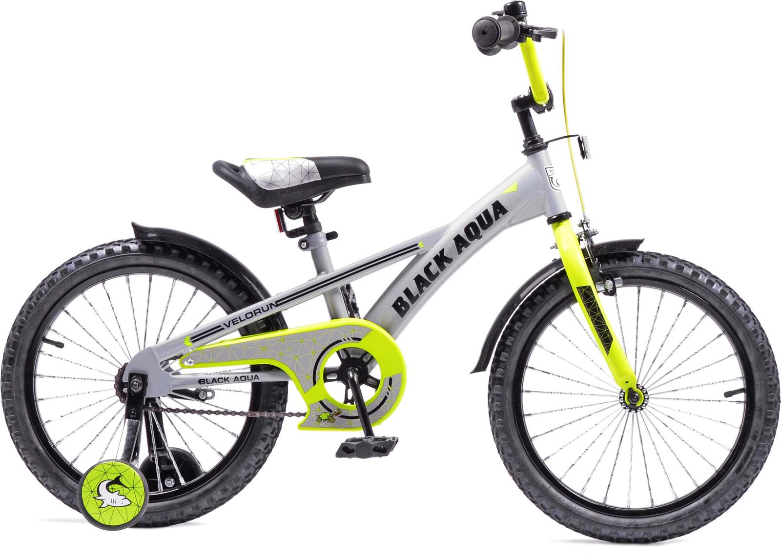 Велосипед детский Black Aqua Velorun, KG1819, колесо 18, серый, лимонный