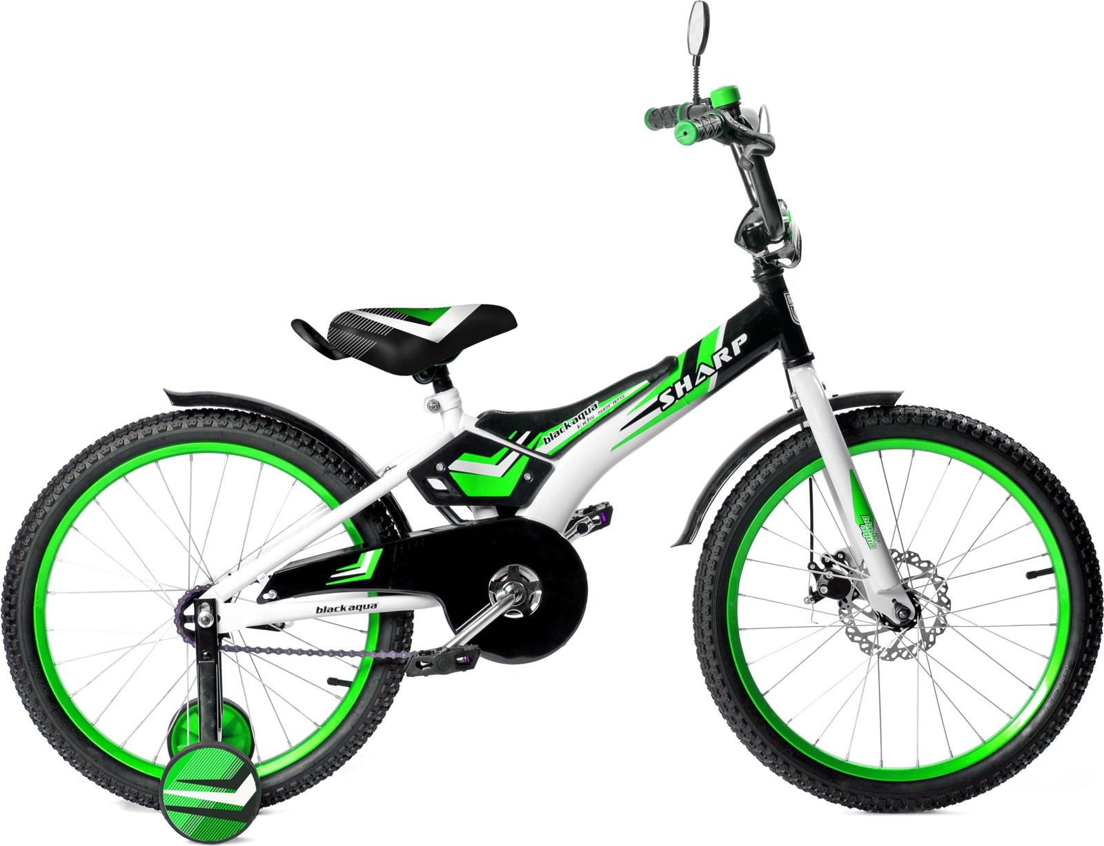 Велосипед детский Black Aqua Sharp, KG1810, со светящимися колесами, колесо 18, зеленый