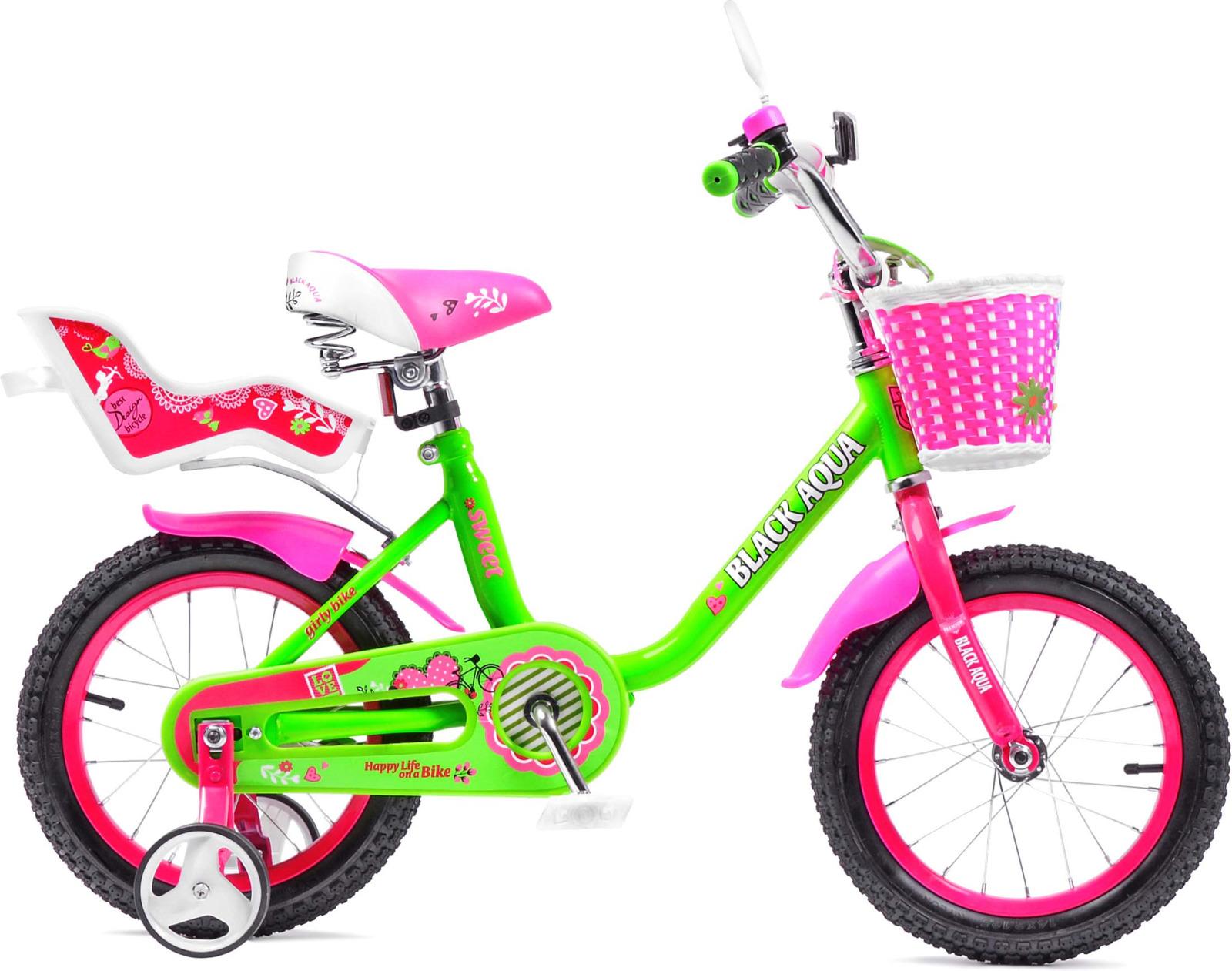 Велосипед детский Black Aqua Sweet, KG1203, со светящимися колесами, колесо 12, салатовый, розовый