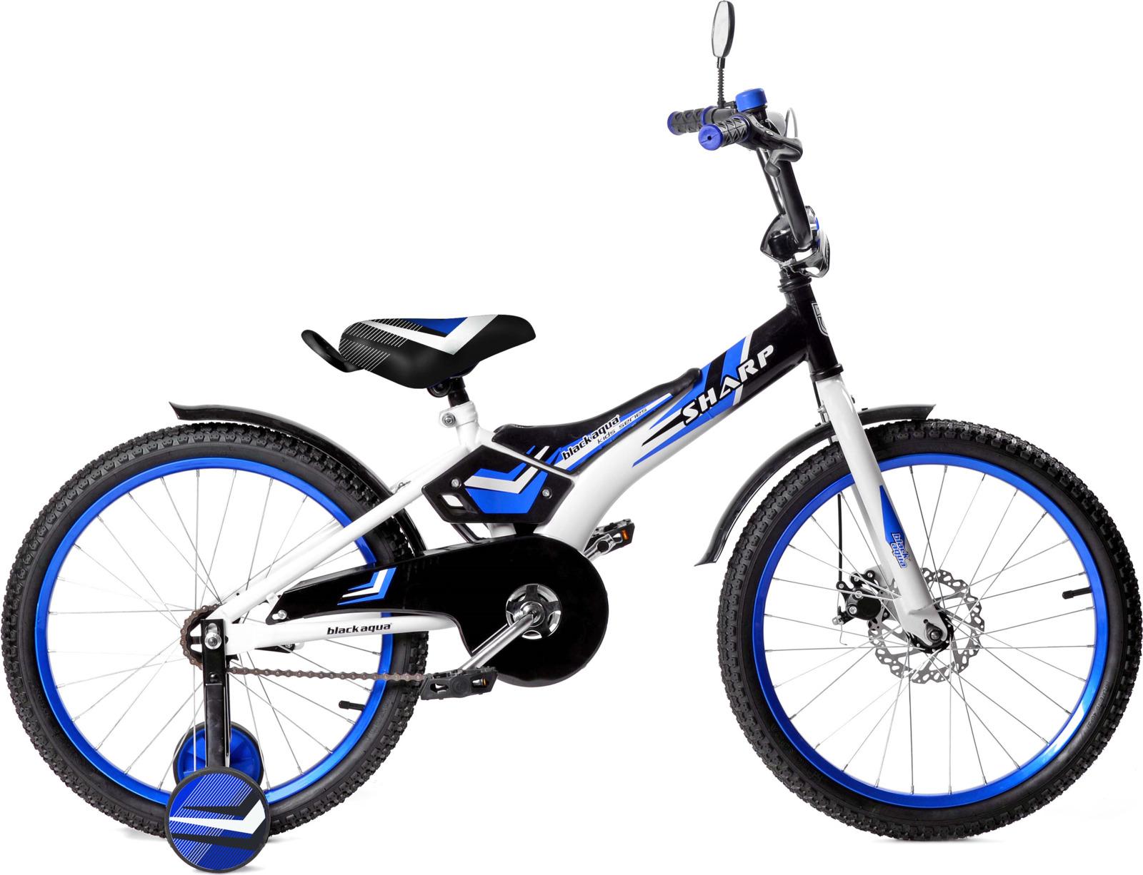 Велосипед детский Black Aqua Sharp, KG1410, со светящимися колесами, колесо 14, синий