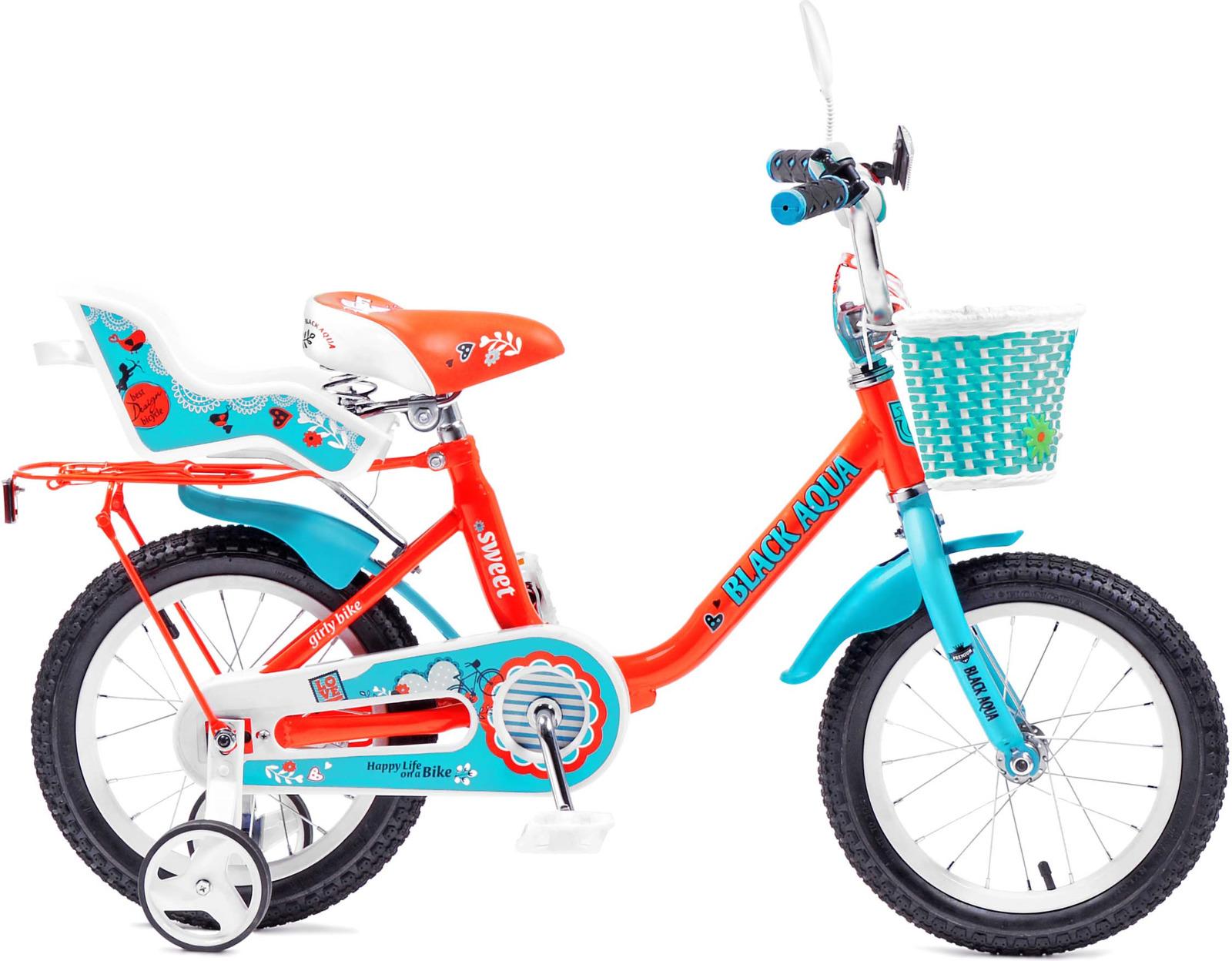 Велосипед детский Black Aqua Sweet, KG1403, со светящимися колесами, колесо 14, алый, бирюзовыйKG1403Стильный велосипед для девочек, с прочной стальной рамой, колесами размером 14 дюймов. В комплектацию входит: звонок, крылья, корзинка на руле. На моделях с колесами 12 и 14 короткие крылья и кресло для куклы. Велосипед оснащен боковыми колесам для устойчивого положения велосипеда. Установлена защита цепи, что бы ребенок при движении не травмировал ногу. Рекомендуем!