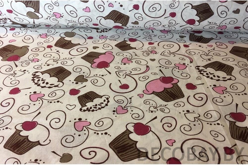 Ткань Vebertex кексы на беломТК001289756Ткань отлично подойдет для пэчворка, квилтинга, скрапбукинга, пошива детских и взрослых вещей, детского постельного белья, бортиков в кроватку, конвертов на выписку, вигвамов (типи), штор, букв-подушек, кукол и других принадлежностей для наполнения детской кроватки и детской комнаты.Ткань дает минимальную усадку (до 3-5%).Краска (цвет) не вымывается, не тускнеет при правильном уходе.Рисунок четко пропечатан.Сминаемость умеренная.Полотно тонкое, плотное.Нити без зазоров плотно прилегают друг к другу.Длина 100смШирина 150см