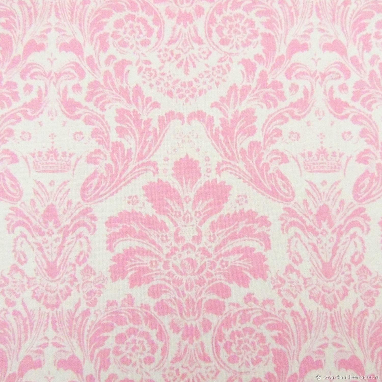 Ткань Vebertex Дамаск розовый на белом ткань vebertex дамаск мятный