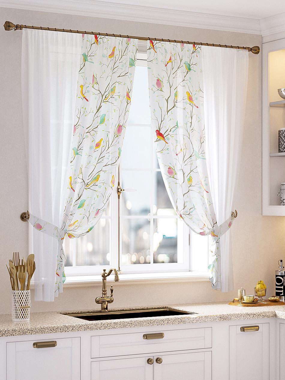 купить Комплект штор Томдом Явиол, белый, красный, коричневый, зеленый по цене 2560 рублей