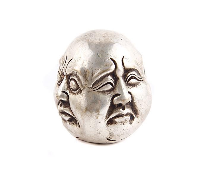 Статуэтка Четыре лика Хотэя. Металл, прочеканка. Китай, вторая половина XX века