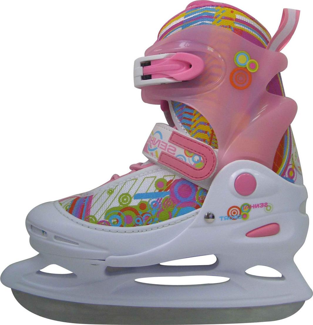 Коньки ледовые для девочки Action, раздвижные, цвет: белый, розовый, голубой. PW-111. Размер 30/33