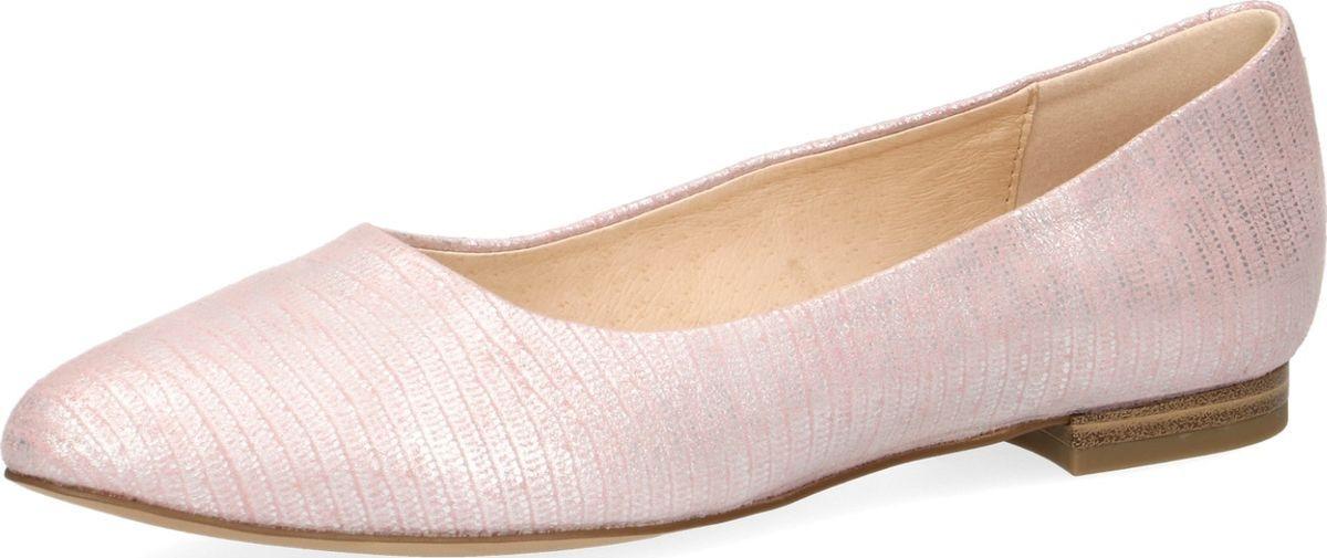 Балетки женские Caprice, цвет: розовая рептилия. 9-9-22104-22-517/220. Размер 409-9-22104-22-517/220Изящный дизайн и непревзойденное немецкое качество - отличительные свойства моделей балеток Caprice. Они подарят ощущение легкости и отличного самочувствия и будут любимым спутником на протяжении всего сезона. Универсальная модель из натуральной кожи, которая обладает высокой износостойкостью, способствует влаго- и воздухообмену. При изготовлении модели применен метод Sacchetto: подкладка обуви соединена со стелькой, образуя кожаный «мешочек». В результате этого внутренняя часть обуви представляет собой единое целое и обеспечивает идеальную посадку обуви по ноге, что невероятно удобно при носке. А отсутствие в конструкции промежуточной стельки, делает обувь особо мягкой и гибкой. Мягкая стелька снижает нагрузку на суставы, уменьшает чувство дискомфорта и усталости при ходьбе.Комфортная полнота G и гибкая подошва не нарушает биомеханику шага.