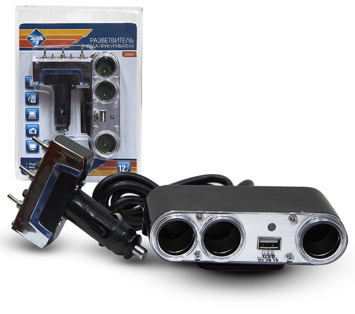 Разветвитель гнезда прикуривателя Nova Bright с тумблерами, 3 гнезда, 1 USB-порт, со светодиодной подсветкой, 12 В разветвитель прикуривателя avs cs211u со светодиодной подсветкой 2 выхода usb 12 24в
