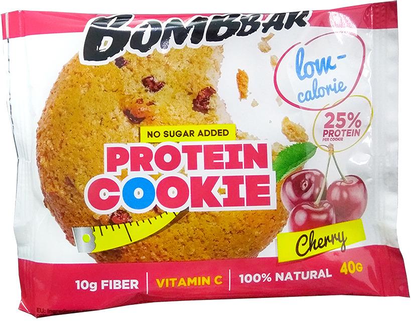 Протеиновое печенье Bombbar, низкокалорийное, вишня, 40 г печенье низкокалорийное fitness кондитерская вишня 400 г 10 упаковок