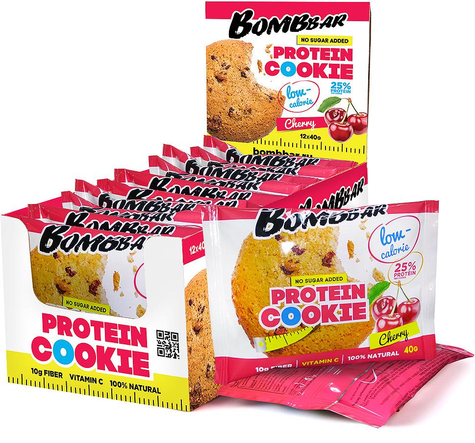 Протеиновое печенье Bombbar, низкокалорийное, вишня, 12 шт по 40 г печенье низкокалорийное fitness кондитерская вишня 400 г 10 упаковок