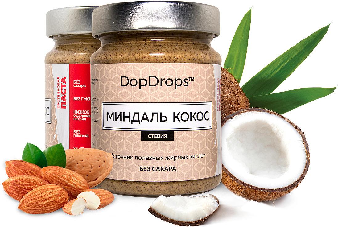 Паста протеиновая DopDrops Миндаль. Кокос, стевия, 265 г паста dopdrops арахис морская соль стевия 265 г