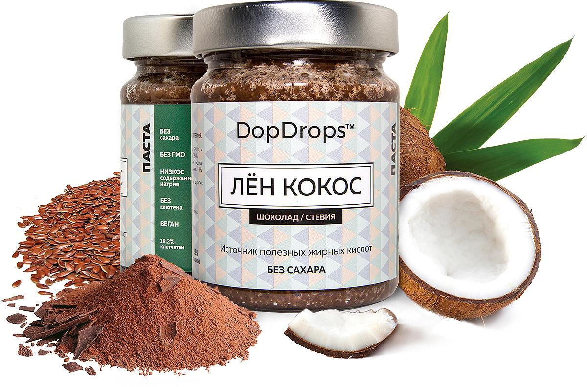Паста DopDrops Лен. Кокос, шоколад, стевия, 265 г паста dopdrops арахис морская соль стевия 265 г