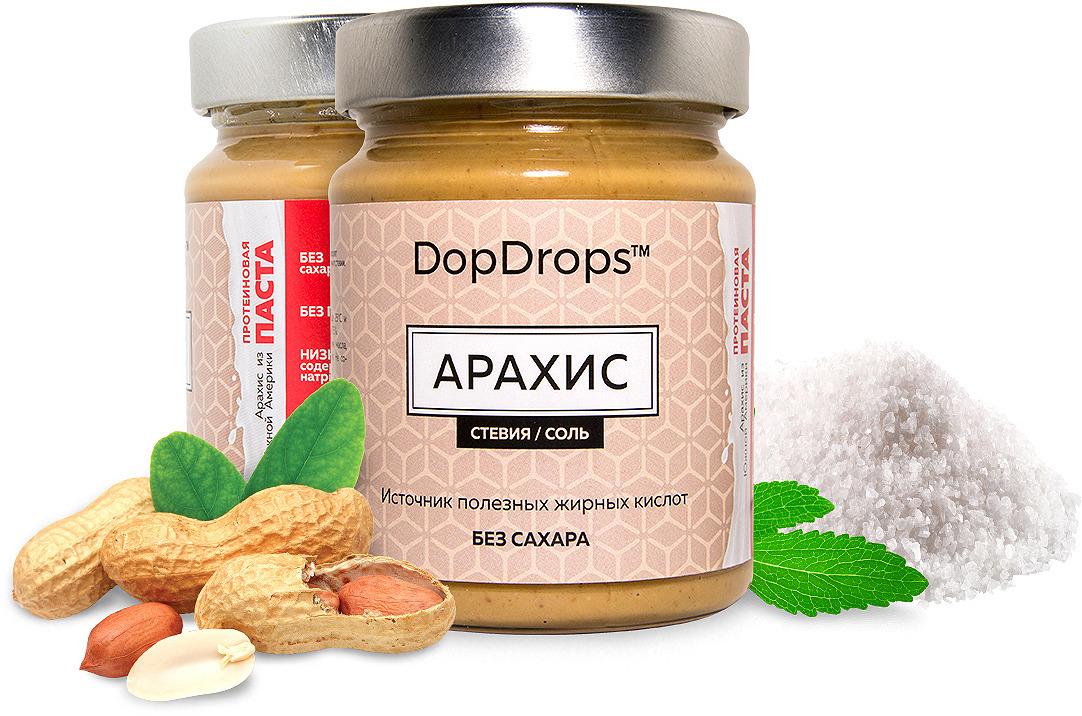 Паста протеиновая DopDrops Арахис, морская соль, стевия, 265 г паста dopdrops арахис морская соль стевия 265 г
