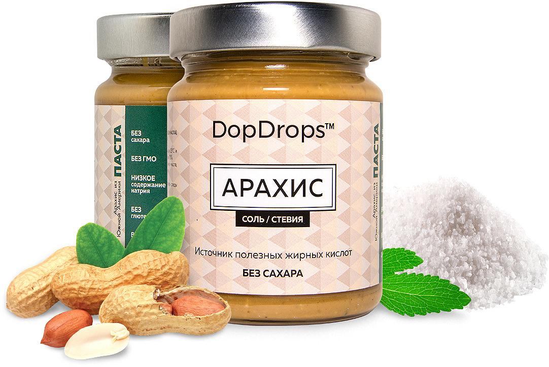 Паста DopDrops Арахис, морская соль, стевия, 265 г паста dopdrops арахис морская соль стевия 265 г