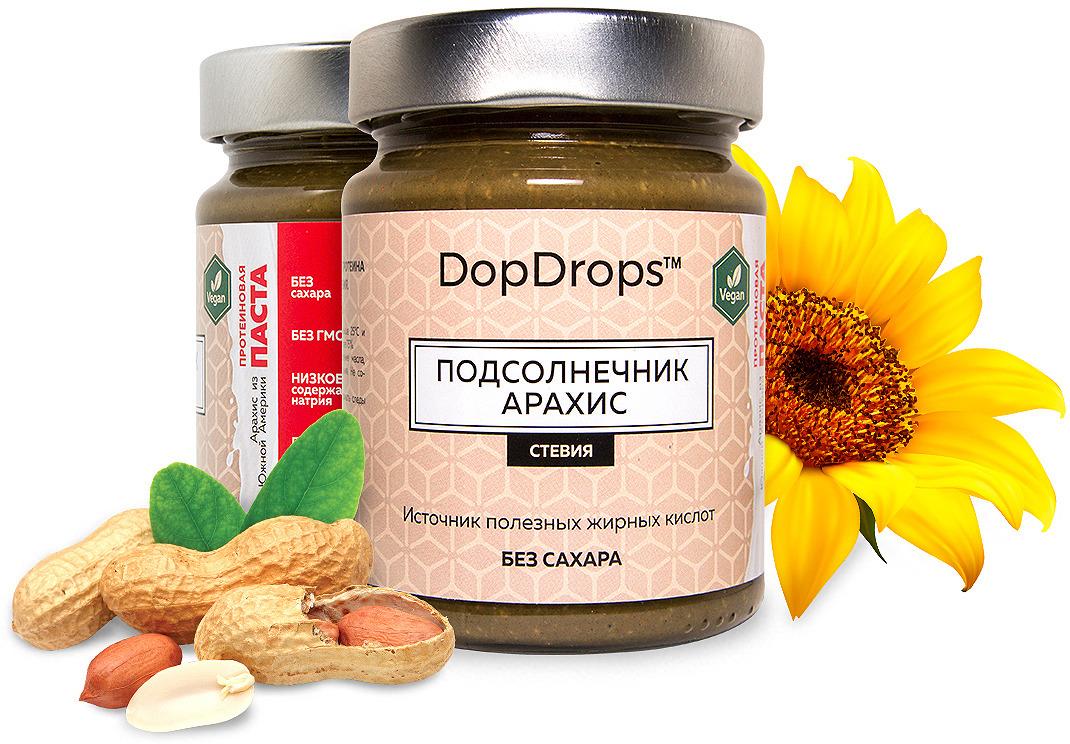 Паста протеиновая вегетарианская DopDrops Подсолнечник. Арахис, стевия, 265 г паста dopdrops арахис морская соль стевия 265 г