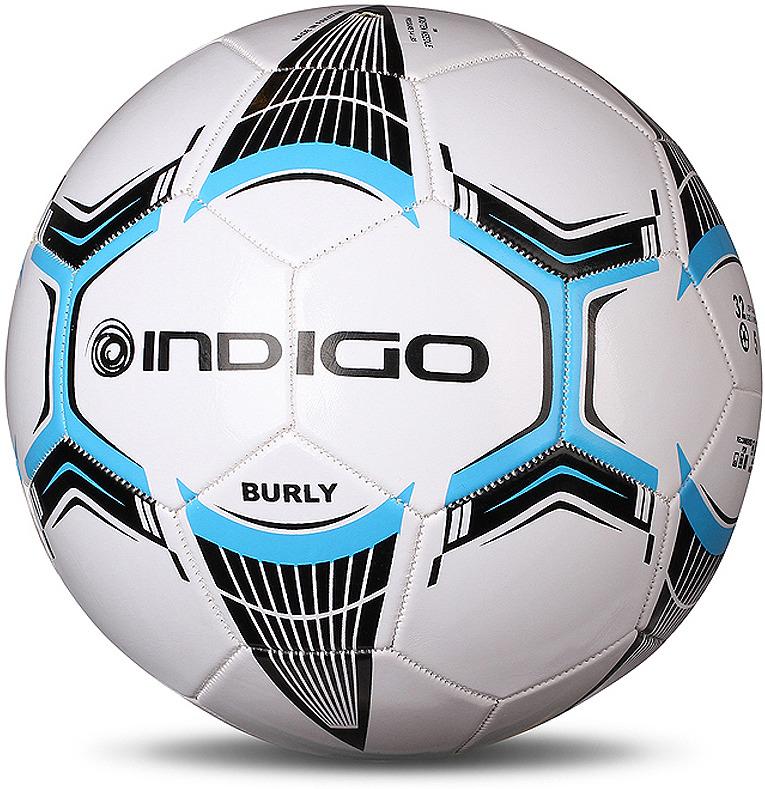 Мяч футбольный Indigo Burly, 1134, белый, размер 5 мяч футбольный indigo rain in031 белый синий желтый размер 3