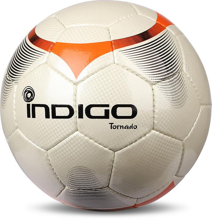 Мяч футбольный Indigo Tornado, C00, белый, оранжевый, размер 5 мяч футбольный indigo goal c02 белый синий желтый размер 5