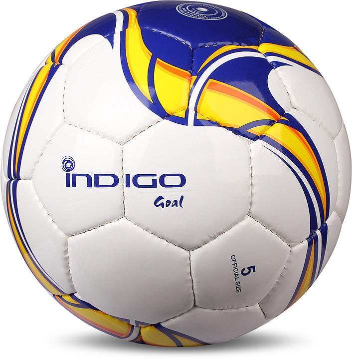 Мяч футбольный Indigo Goal, C02, белый, синий, желтый, размер 5 мяч футбольный indigo rain in031 белый синий желтый размер 3