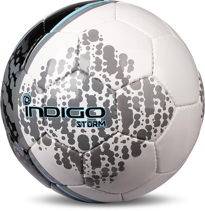 Мяч футбольный Indigo Storm, D03, белый, голубой, серый, размер 5 цена