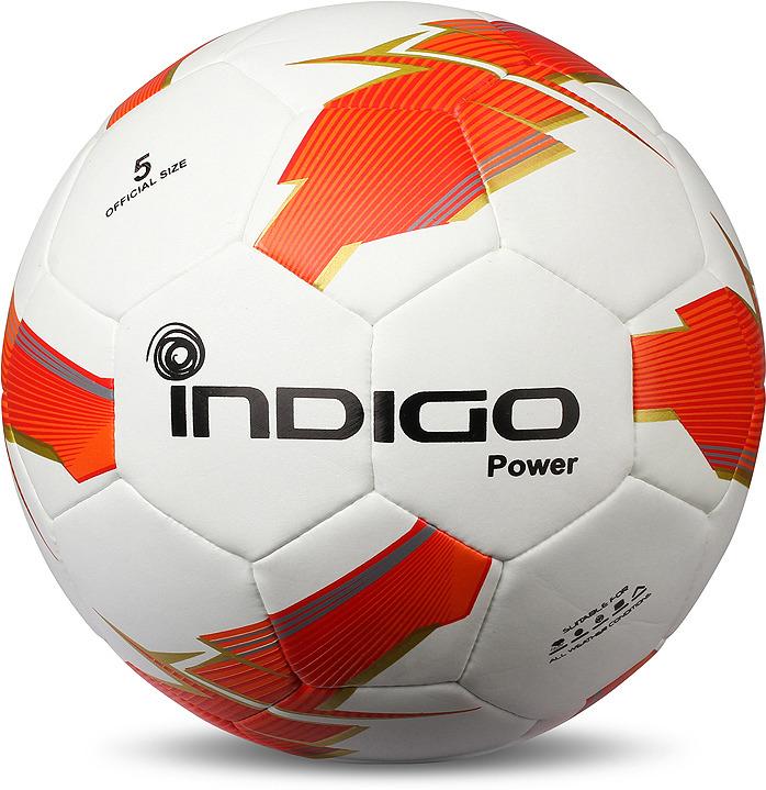 Мяч футбольный Indigo Power, Z02, белый, оранжевый, размер 5
