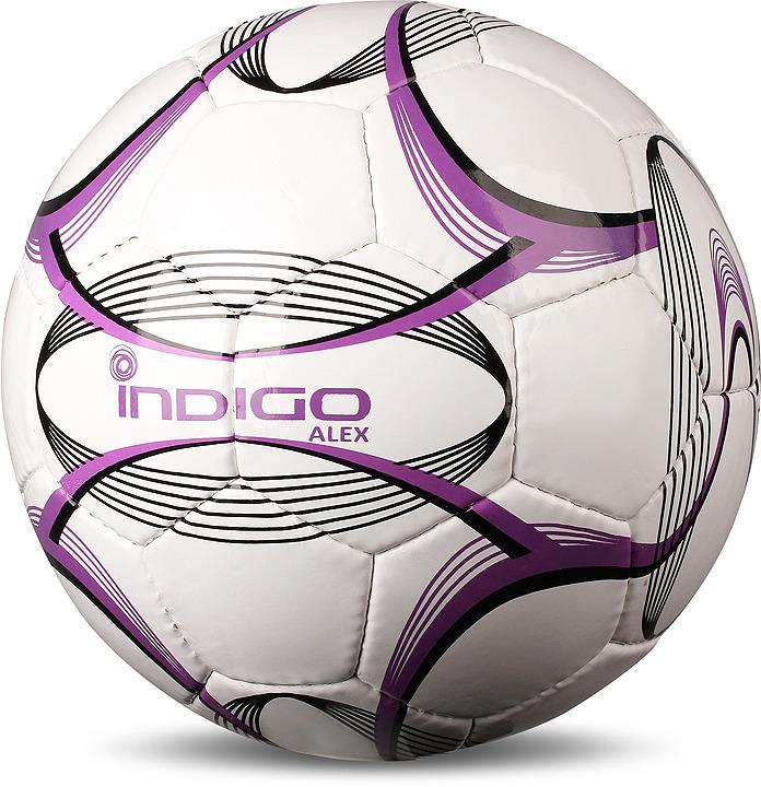Мяч футбольный Indigo Alex, N002, белый, фиолетовый, размер 5N002Мяч футбольный INDIGO ALEX N002 №5 - рекомендован любителям для тренировок на траве. Поливинилхлорид, из которого сделан футбольный мяч INDIGO ALEX N002 №5 - это менее дорогая и практичная синтетическая кожа, тем не менее она тоже достаточно крепкая, на ощупь ПВХ более походит на пластик, особенно в холодную погоду. Категория: любительский