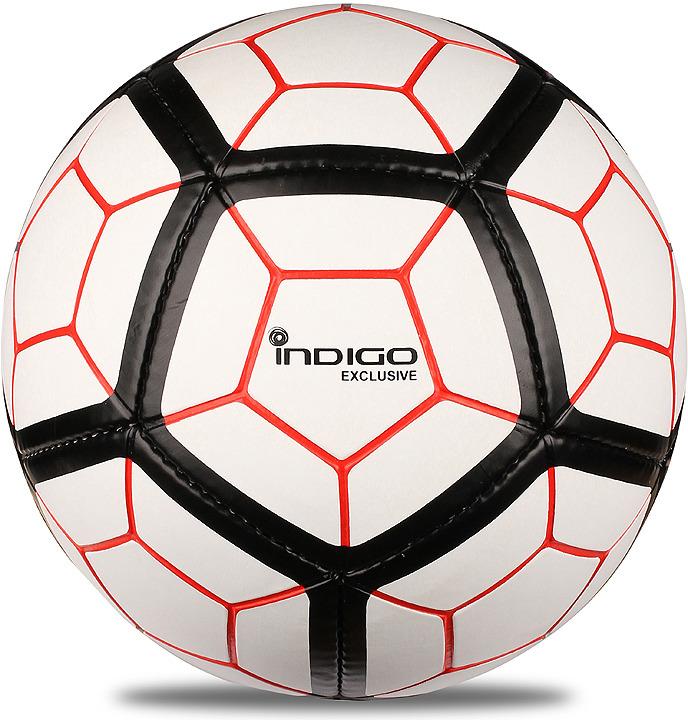 Мяч футбольный Indigo Exclusive, FG 5, белый, черный, красный, размер 5 мяч футбольный indigo rain in031 белый синий желтый размер 3