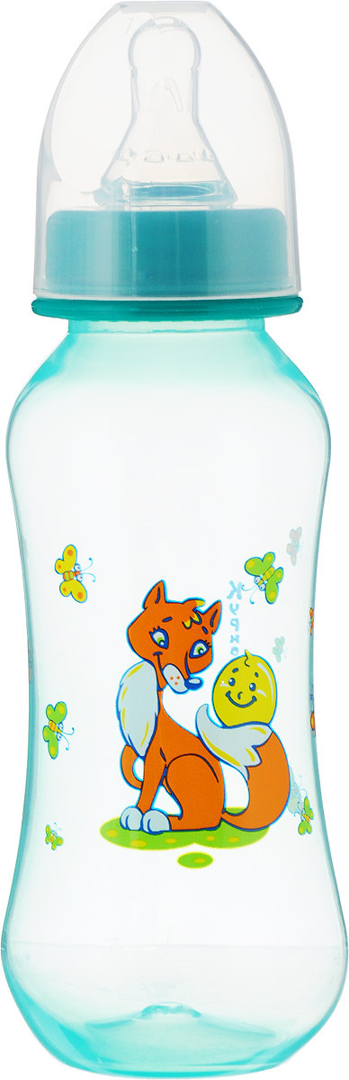 Бутылочка для кормления Курносики Моя ферма, с соской, 11057, голубой, 250 мл столовые приборы для малышей курносики ложечка курносики