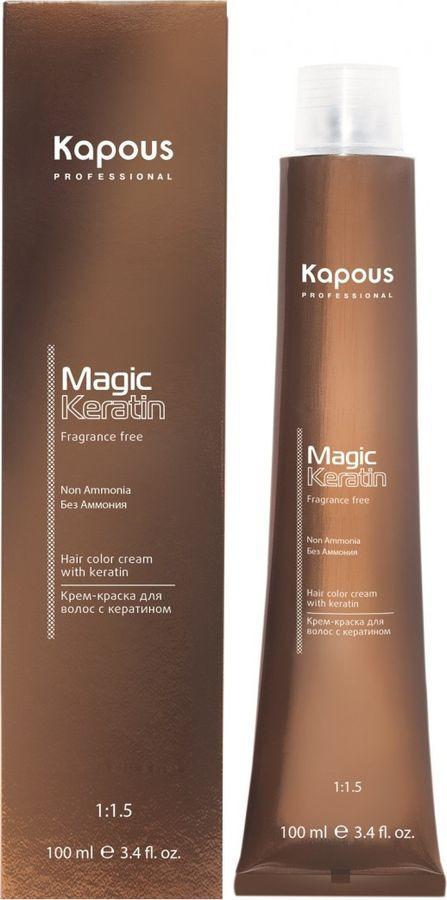 Краска для волос Kapous Professional Magic Keratin, оттенок 7.53 Махагоново-золотистый блонд, 100 мл kapous magic keratin крем краска для волос non amonnia na 7 насыщенный блонд 100 мл