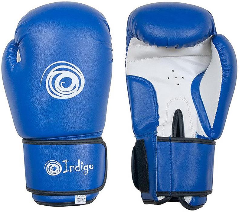 Боксерские перчатки Indigo, PS-799, синий, вес 12 унций перчатки боксерские rusco цвет синий вес 8 унций
