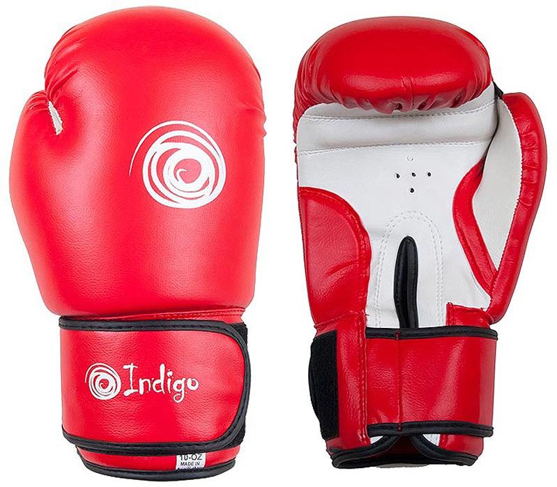 Боксерские перчатки Indigo, PS-799, красный, вес 10 унций перчатки боксерские green hill force цвет красный белый вес 10 унций bgf 1215