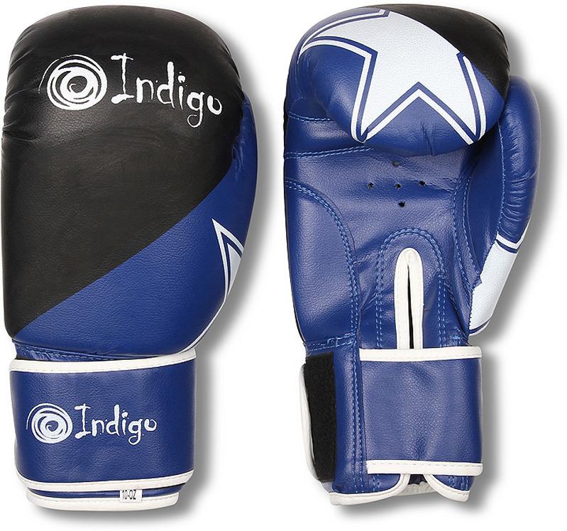 Боксерские перчатки Indigo, PS-505, синий, вес 10 унций
