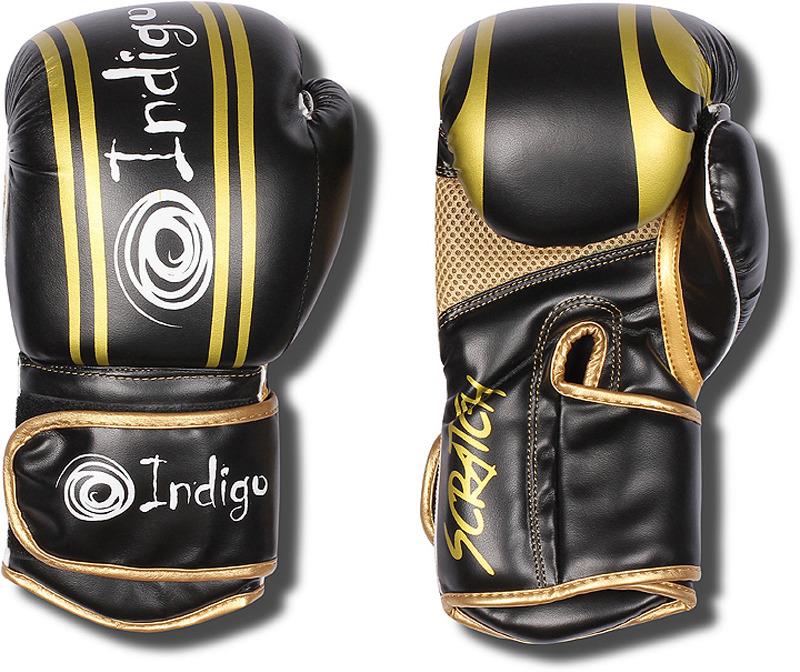 Боксерские перчатки Indigo, PBG-110, черный, вес 10 унций