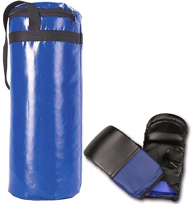 Боксерский мешок Indigo, SM-110, синий, 6 кг + перчатки мешок боксерский атлет sportlim 25 кг