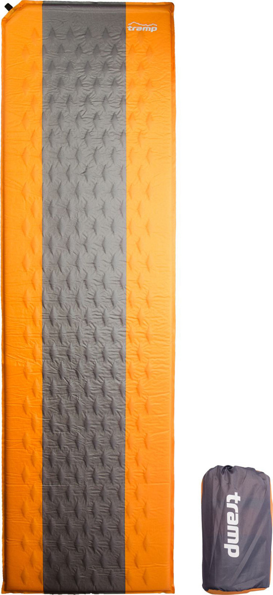 Коврик самонадувающийся Tramp, TRI-002, оранжевый, серый, 180 х 50 см