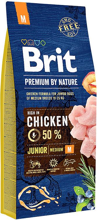 Корм сухой Brit Premium by Nature Junior M, для молодых собак средних пород, 15 кг люнет jet 50000072
