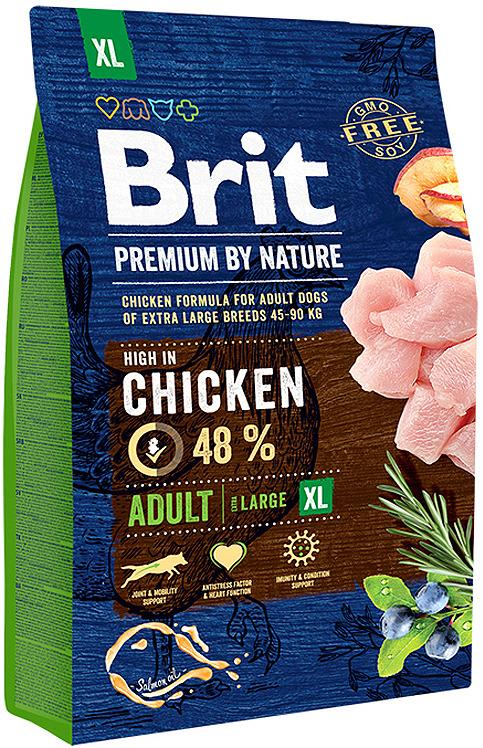 Корм сухой Brit Premium by Nature Adult XL, для взрослых собак гигантских пород, 3 кг brit brit premium by nature adult m сухой корм для собак средних пород с курицей 3 кг