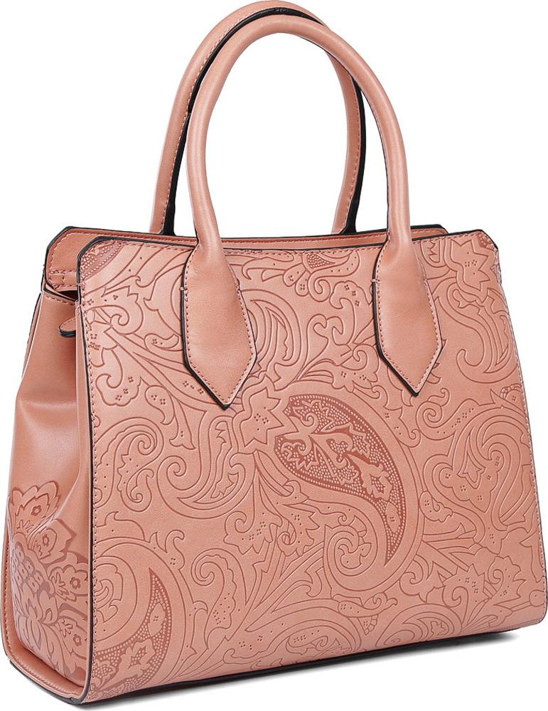 Сумка женская Fabretti, f-44063-pink, розовыйf-44063-pinkВ этом сезоне в моде экзотические принты, однако если вы не готовы экспериментировать с такими рисунками в одежде, тогда женская сумка- тоут из новой линии Fabretti Silver, выполненная из высококачественной экокожи, то что вам нужно. Изысканный коралловый оттенок дополнит современный и классический образ, поскольку цвет отлично сочетается со любой палитрой. Дизайнерская отделка с элементами стиля пейсли с легкостью подчеркнет ваш уникальный вкус! Модель имеет одно отделение, которое разделяется карманом на молнии. Внутри сумки можно с легкостью расположить сотовый телефон и другие женские мелочи с помощью двух удобных карманов, один из которых закрывается на прочную молнию. Сумка компактна и не вмещает размер А4. В комплекте аксессуар имеет длинный кожаный ремень, с помощью которого, вы сможете трансформировать сумку в кросс-боди.