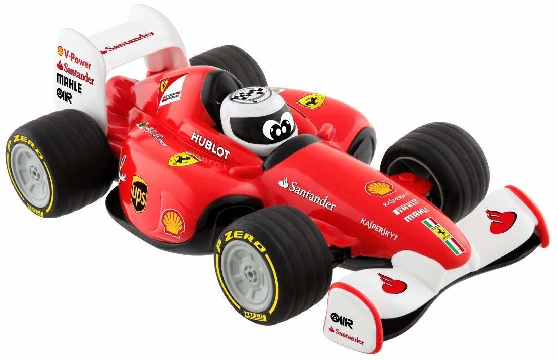 """Машинка-игрушка Chicco Гонки Ferrari94116Почувствуй себя гонщиком вместе с набором Chicco """"Гонки Ferrari""""!Вы услышите звуки настоящей гонки! Запустите машинку и нажмите на шлем пилота.Графические элементы спонсоров Ferrari на корпусе машинки, прорезиненные гоночные шины и реальные звуки мотора понравятся юным гонщикам!Пульт дистанционного управления входит в комплект! Пульт специально разработан для детских ручек и выглядит как настоящий руль гоночного автомобиля. 4 направления движения.Фирменная эмблема знаменитой гарцующей лошадки Ferrari на корпусе гоночного автомобиля!Питание: для работы машинки требуется 4 батарейки типа АА на 1,5 Вольт и для работы пульта дистанционного управления требуется 2 батарейки типа ААА на 1,5 Вольт. Не входят в комплект.Технические характеристики: Частота радиопередачи: 2420-2461 МГц. Максимальная мощность передачи: 10 мВт. Безопасность: Перед использованием внимательно прочитайте инструкцию."""