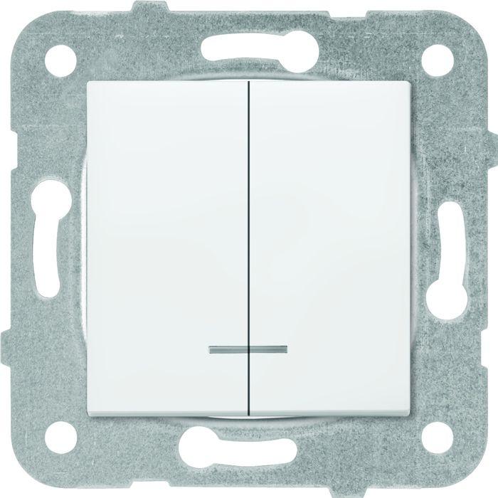 Выключатель Panasonic 2 клавишный с подсветкой, механизм + накладка, белый выключатель клавишный 250v 15а 6с on off on красный с подсветкой и нейтралью rexant