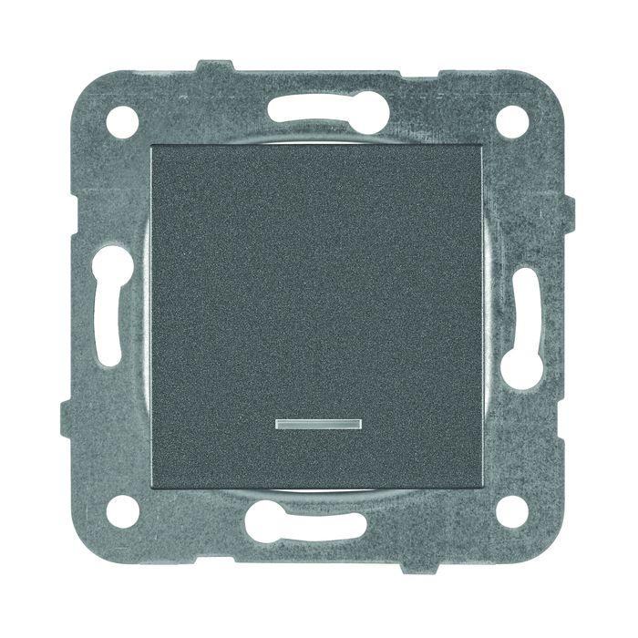 Выключатель Panasonic 1 клавишный с подсветкой, механизм + накладка, темно-серый выключатель клавишный 250v 15а 6с on off on красный с подсветкой и нейтралью rexant