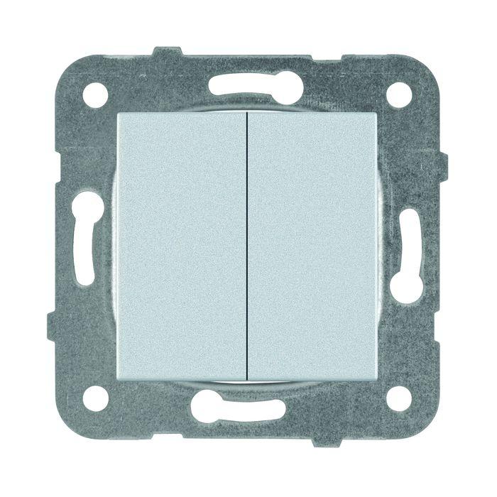 цена на Выключатель Panasonic 2 клавишный, механизм + накладка, серебристый