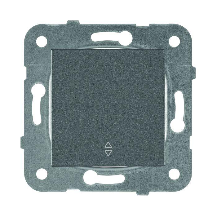 Выключатель Panasonic 1 клавишный проходной, механизм + накладка, темно-серый недорго, оригинальная цена