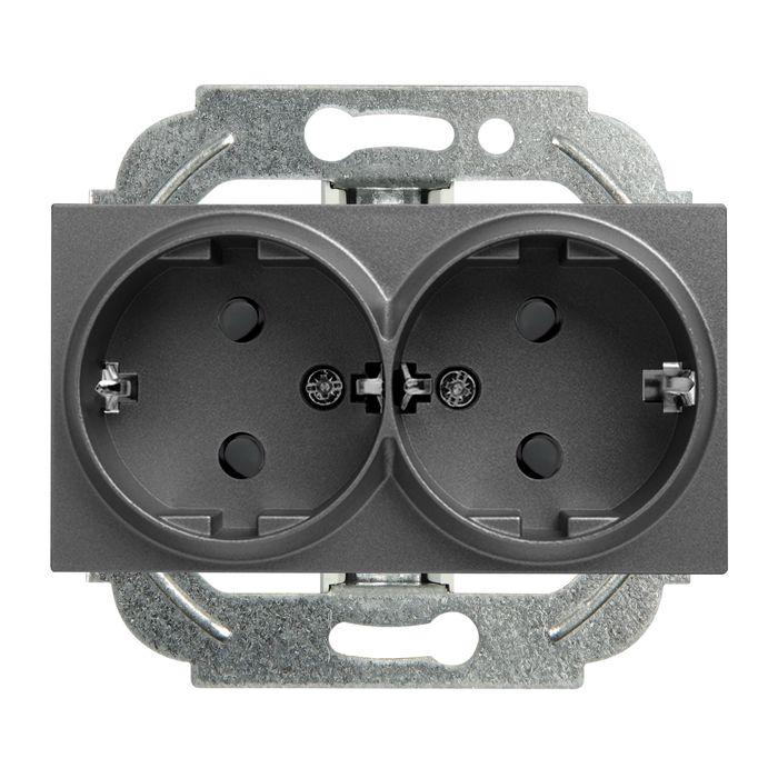 Розетка Panasonic 2 гнезда c/з, механизм + накладка, темно-серый цена и фото