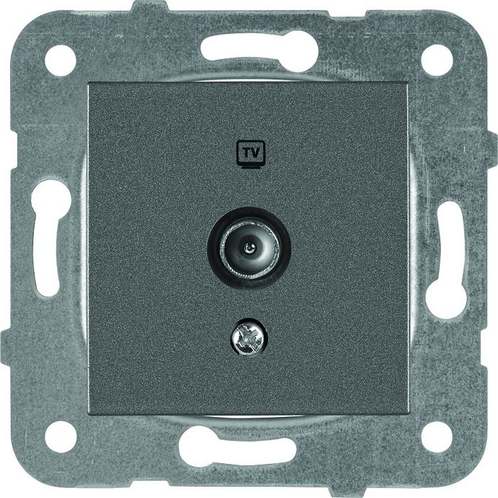 Розетка Panasonic телевизионная проходная 12dB, механизм + накладка, темно-серый тв тюнер внешний bbk smp123hdt2 темно серый smp123hdt2 темно серый