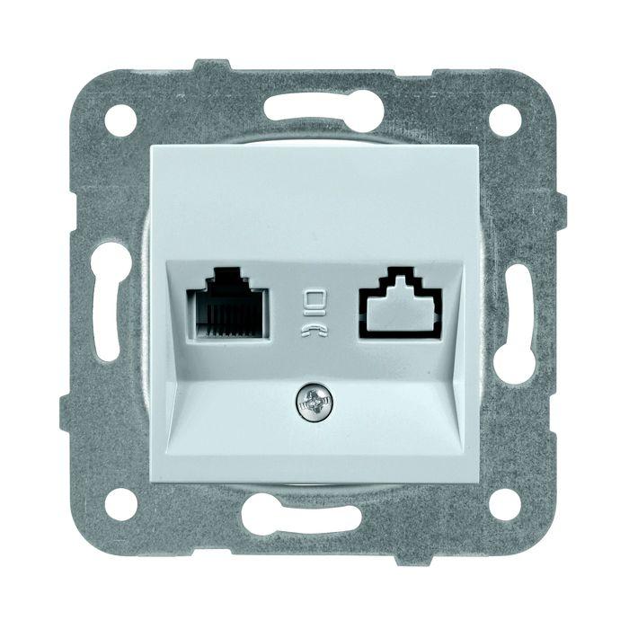 Розетка Panasonic компьютерная RJ45, категория 5e, механизм + накладка, серебристый цены