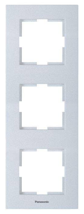 Рамка электроустановочная Panasonic 3-местная вертикальная, серебристый рамка nina 50x40 см цвет серебро